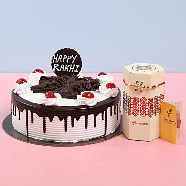 Black Forest Cake With Fancy Rakhi: Send Black Forest Cakes