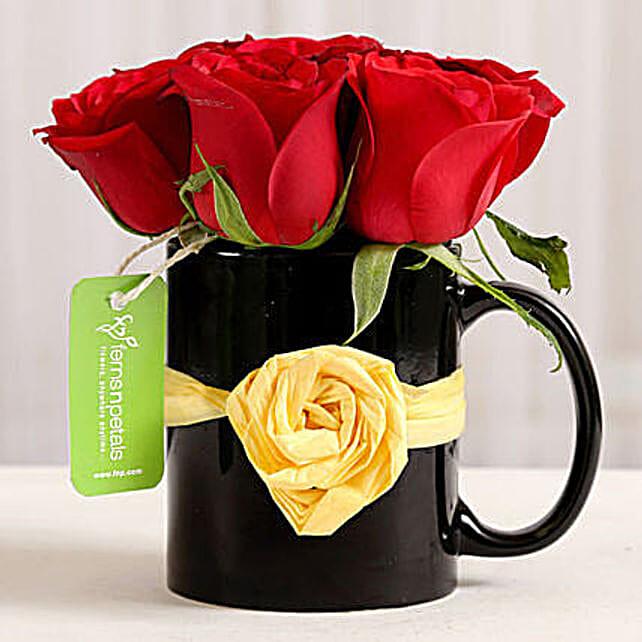 Black Mug of Red Roses: