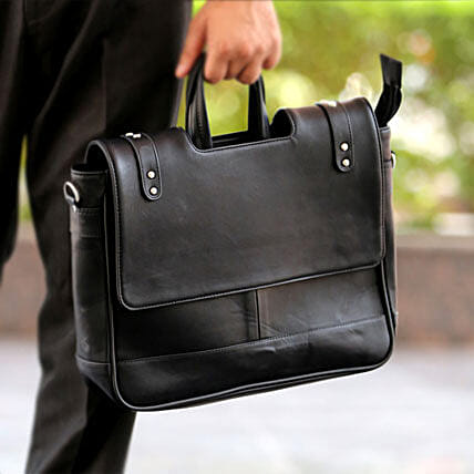 Black Office Bag: Send Leather Gifts