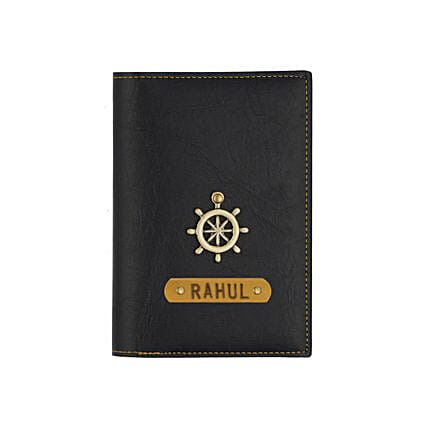 Black Personalised Passport Cover: Accessories for Him