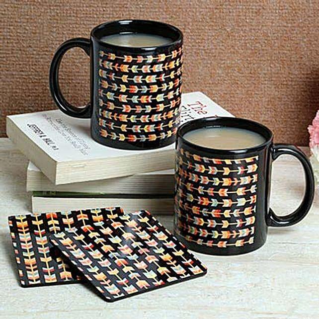 Black Print Coasters With Mugs: Buy Coffee Mugs