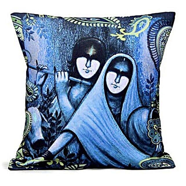 Blue Radha Krishan Cushion: Janmashtami Gifts