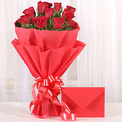 Bouquet N Greeting Card: Valentines Day Flowers & Cards