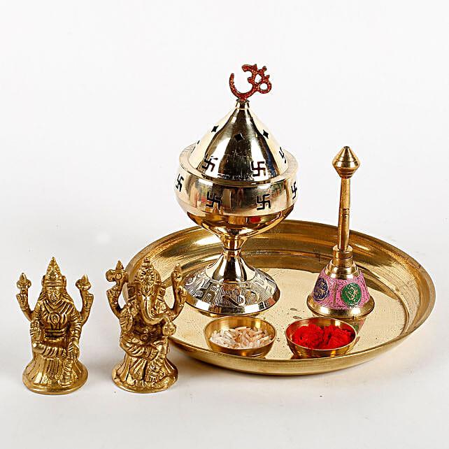 Brass Diwali Pooja Thali Combo: Laxmi Ganesha Idol Gifts