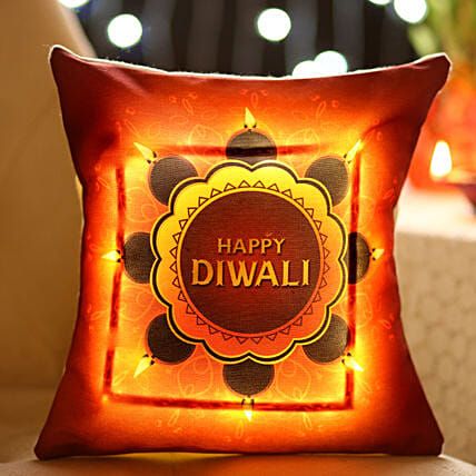 Bright Diwali Wishes LED Cushion: Diwali Cushions