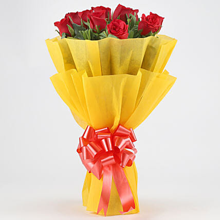 Bright Red Roses Bouquet: Gifts for Promise Day