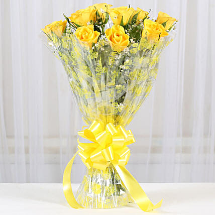10 Bright Yellow Roses Bouquet: Yellow Flowers
