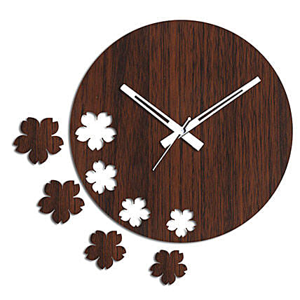 Brown Flowers Wall Clock: Wall-Clocks