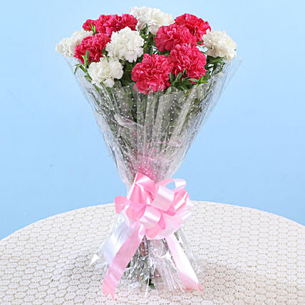 Bunch Of Pink & White Carnations: Flower Bouquets