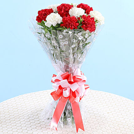 Bunch Of Red & White Carnations: Carnations