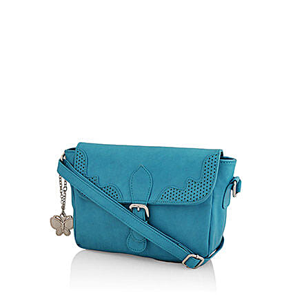 Butterflies Classy Sky Blue Sling Bag: Handbags and Wallets Gifts