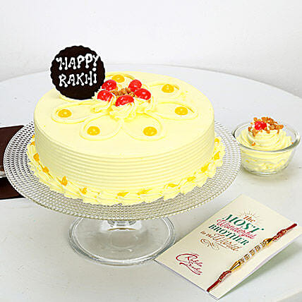 Butterscotch Cake With Fancy Rakhi: Send Rakhi with Cakes