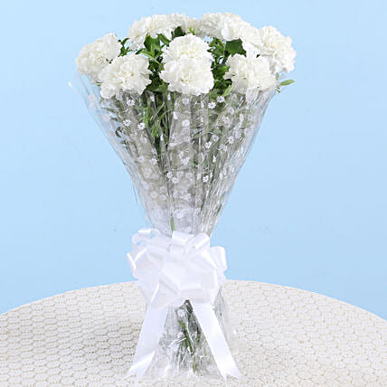Captivating White Carnations Bouquet: