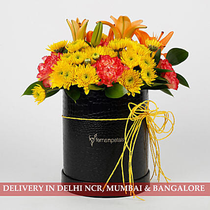 Carnations Chrysanthemums Box Arrangement: Send Carnations