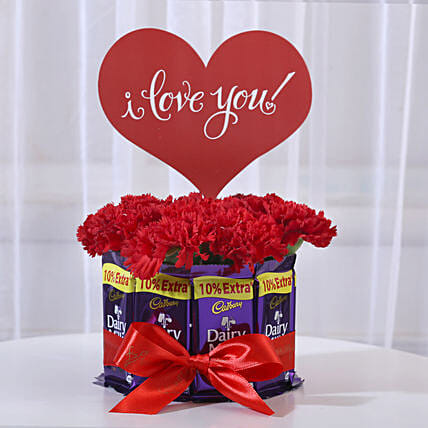 Carnations in Glass Vase & Dairy Milk Chocolate Bouquet: