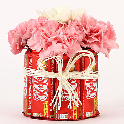Carnations & Kit Kat Glass Arrangement: Send Carnations