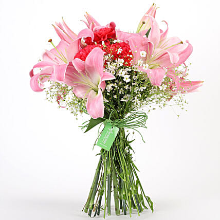 Carnations & Lilies Hand Tied Bunch: Lilies
