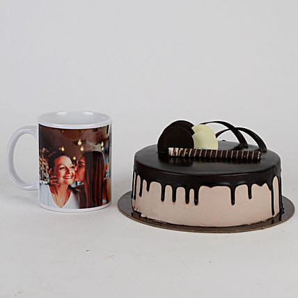 Chocolate Cake & Personalised Mug For Mom: Cakes N Personalised Gifts
