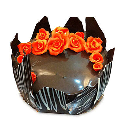 Chocolate Cake With Red Flowers: Chocolate Cake