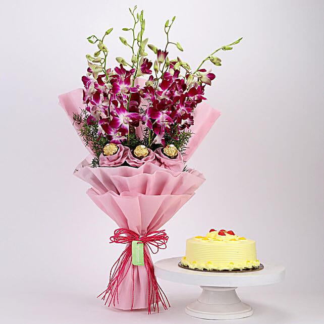 Chocolaty Orchids Bouquet & Butterscotch Cake: