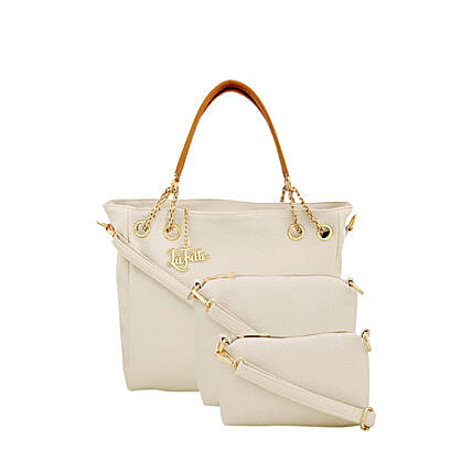 Classy Cream LaFille Handbag Set: Buy Handbags