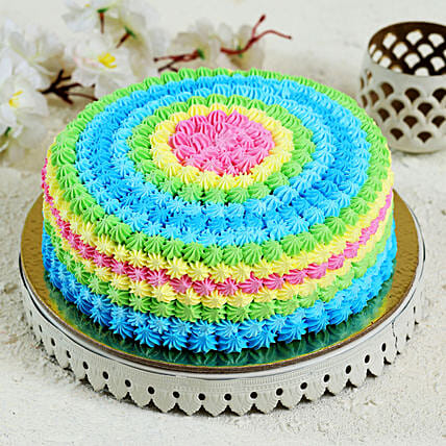 Colourful Cream Cake: