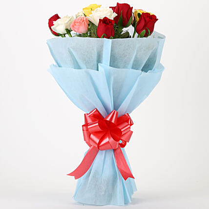 Colourful Mixed Roses Bouquet: Send Flowers for Him