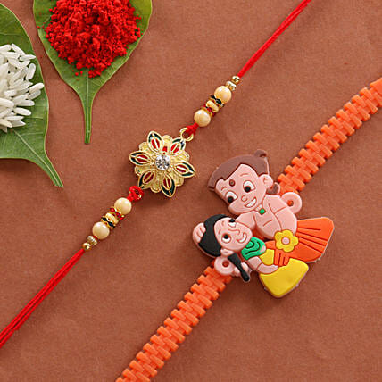 Combo of Cartoon & Floral Designer Rakhi: Rakhi for Brother