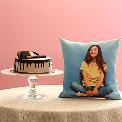 Creamy Chocolate Cake & Picture Cushion Combo: Combo Gifts