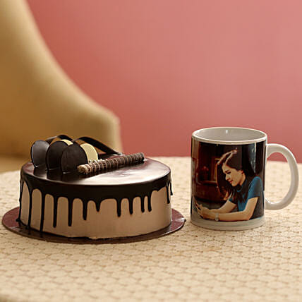 Creamy Chocolate Cake With Picture Mug: Combo Gifts