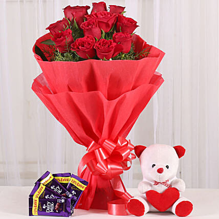 Cuddly & Chocolatey Affair- 12 Red Roses: Chocolate Combos For Mothers Day