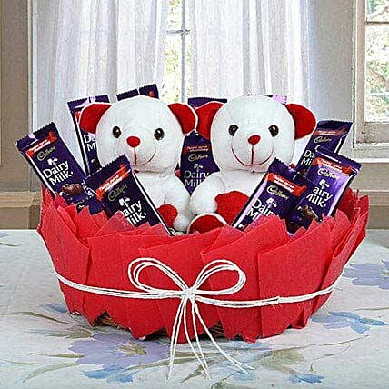 Chocolatey Basket of Teddy Bears: Send Chocolate Bouquet