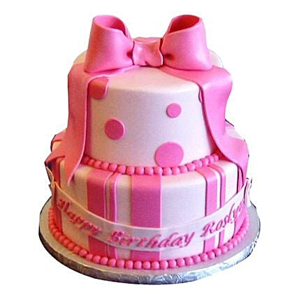 Cute Pink Gift Cake: Multi Tier Cakes