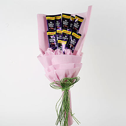 Dairy Milk Chocolates Pink Paper Bouquet: Chocolate Bouquet