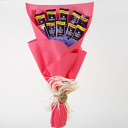Dairy Milk Chocolates Red Paper Bouquet: