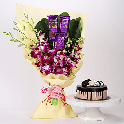 Dairy Milk & Orchids With Chocolate Cake: Cadbury Chocolates