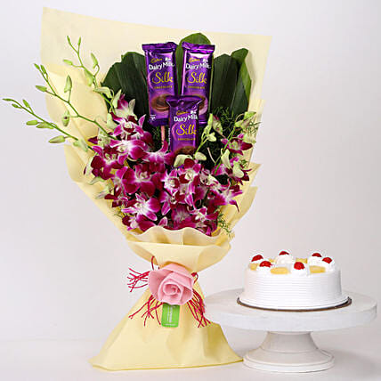 Dairy Milk & Orchids With Pineapple Cake: Send Orchids