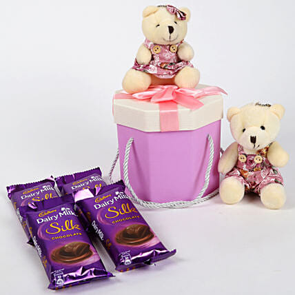 Dairy Milk Silk & Teddy Bear Gift Box: Valentines Day Chocolates