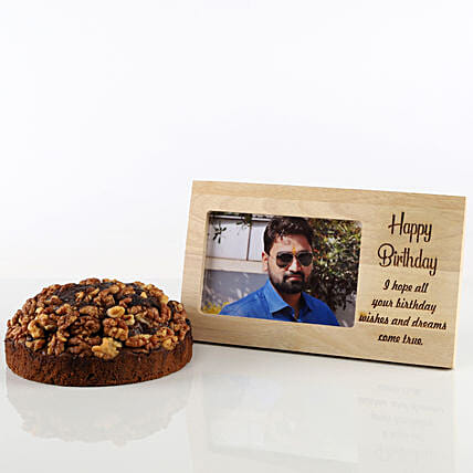 Dates & Walnuts Dry Cake & Photo Frame Combo: Cakes Combo