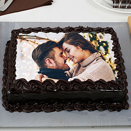 Decorated Chocolate Photo Cake: Photo Cakes to Dehradun