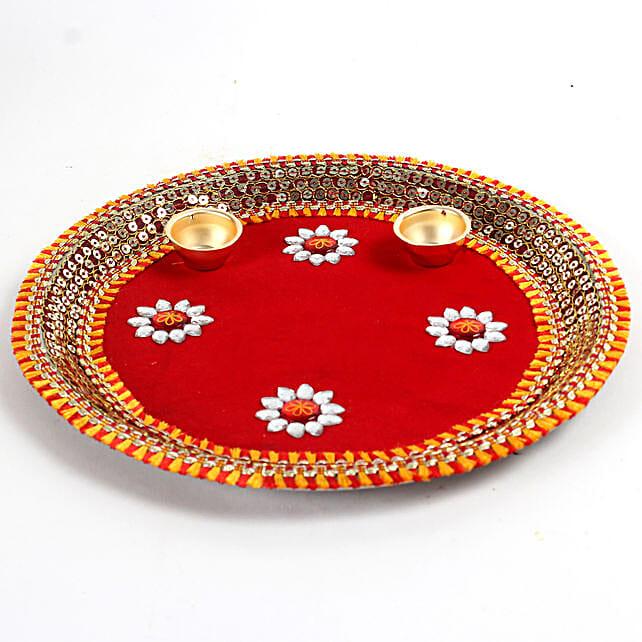 Decorated Red Floral Steel Thali: Pooja Thali