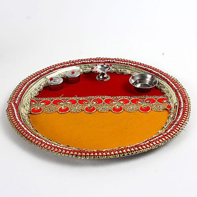 Decorated Red & Yellow Steel Pooja Thali: Send Pooja Thali