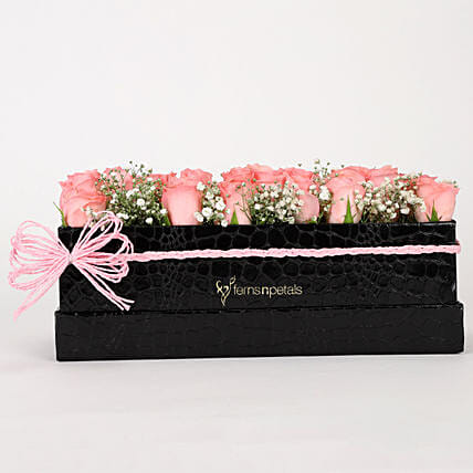 Delicate Pink Roses Box Arrangement: Pink Flowers