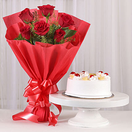 Red Roses & Pineapple Cake Combo: Flowers & Cake Combos