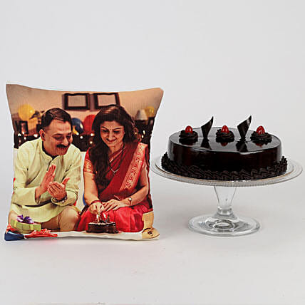 Delish Truffle Cake & Picture Cushion Combo: Cakes N Personalised Gifts