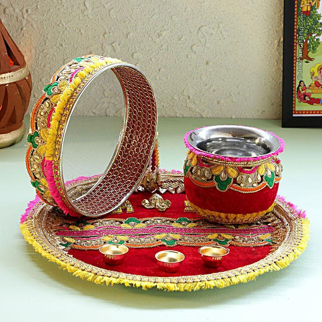 Designer Red Velvet Zardosi Thali Set: Karwa Chauth Gifts for Daughter In Law