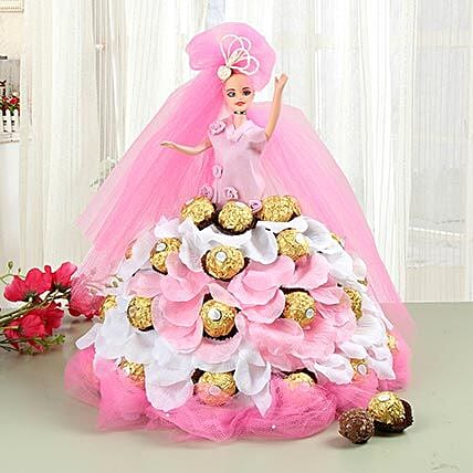 Pink Doll With Ferrero Rocher Chocolates: Valentine's Day Gifts