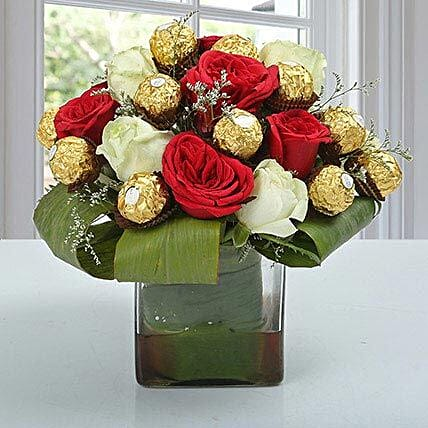 Roses & Ferrero Rocher in Glass Vase: Chocolate Bouquet
