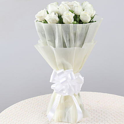 Elegant Pristine White Roses Bouquet: Flowers for Valentines Day