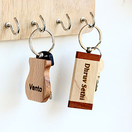 Engraved Personalised Wooden Key Chains Set of 2: Personalised Engraved